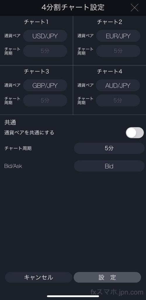 DMMFXのスマホアプリの4画面チャート表示設定