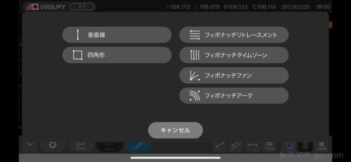 セントラル短資FXアプリのフィボナッチ(描画ツール)選択メニュー