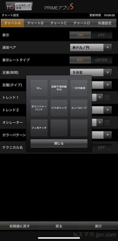 FXプライムbyGMOのフィボナッチリトレースメント設定・変更