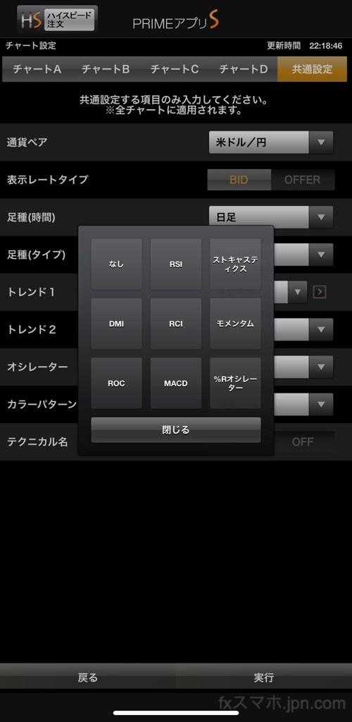 FXプライムbyGMO「PRIMEアプリS」のオシレーター系テクニカル分析指標