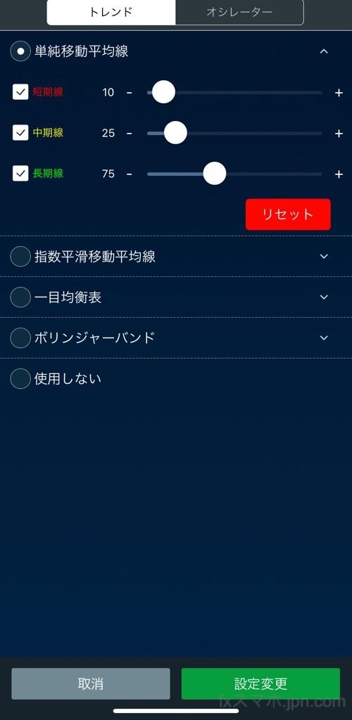 LIGHTFXのiPhoneアプリのトレンド系テクニカル分析指標