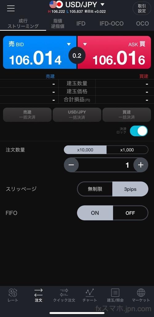 LINE FXアプリの成行注文、OCO注文