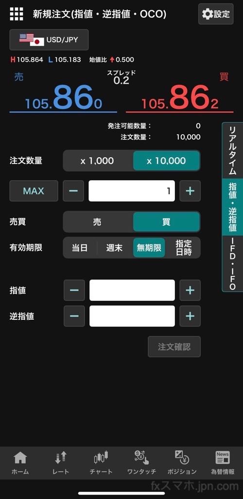 外貨ex(YJFX!)の指値、逆指値注文
