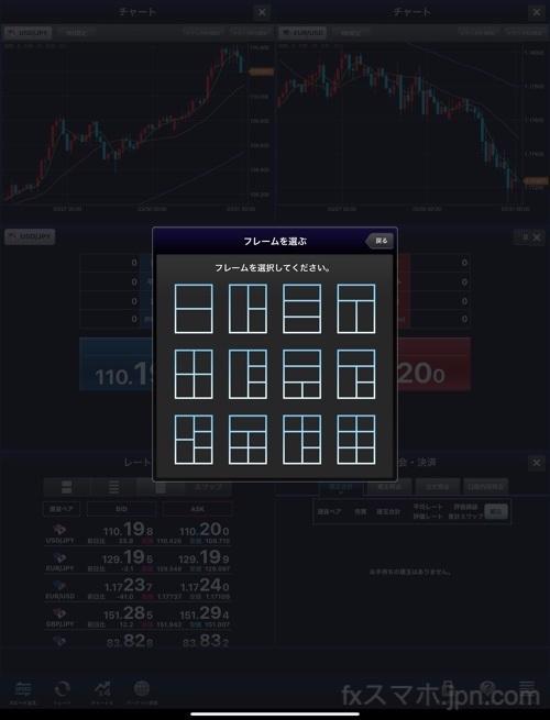 セントラル短資FXのiPadアプリのフレーム選択と種類