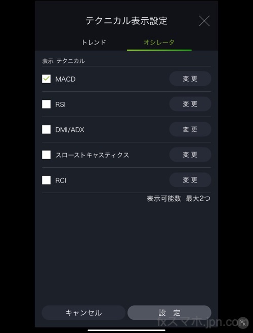 DMMFXのiPadアプリのオシレーター系テクニカル分析指標
